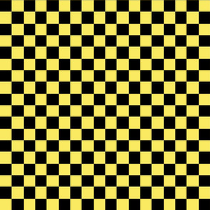 Checks - 1 inch (2.54cm) - Black (#000000) & Light Yellow (#F9EA62)