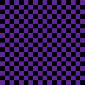 Checks - 1 inch (2.54cm) - Black (#000000) & Dark Purple (#5E259B)