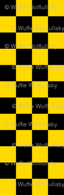 Checks - 1 inch (2.54cm) - Black (#000000) & Mid Yellow (#FFD900)