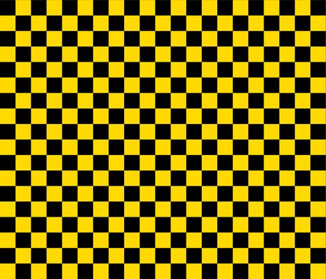 Checks - 1 inch (2.54cm) - Black (#000000) & Mid Yellow (#FFD900) fabric by elsielevelsup on Spoonflower - custom fabric