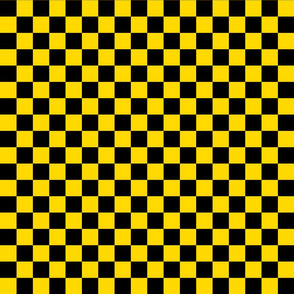 Checks - 1 inch (2.54cm) - Black (#000000) & Mid Yellow (#FFD900)