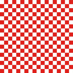Checks - 1 inch (2.54cm) - White (#FFFFFF) & Red (#E0201B)