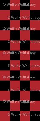 Checks - 1 inch (2.54cm) - Dark Red (#B1252C) & Black (#000000)