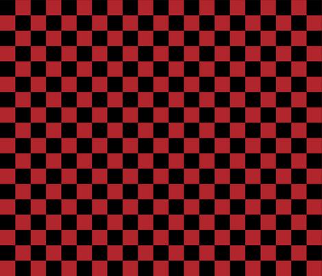 Checks - 1 inch (2.54cm) - Dark Red (#B1252C) & Black (#000000) fabric by elsielevelsup on Spoonflower - custom fabric