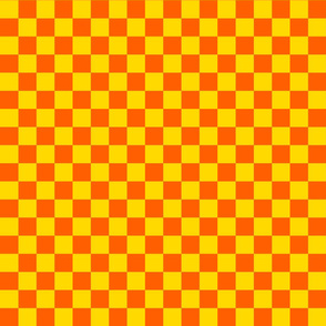 Checks - 1 inch (2.54cm) - Orange (#FF5F00) & Yellow (#FFD900)