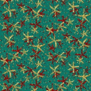 Forest green with red and red-gold sparkly stars by Su_G
