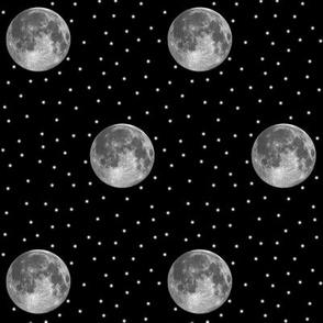 B&W moon and stars polkadot