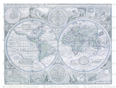 Blue Gray Antique World Map