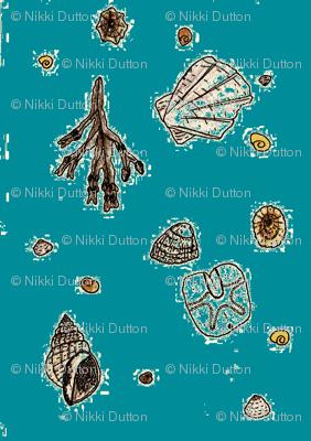 Dornoch beach seashells  - blue