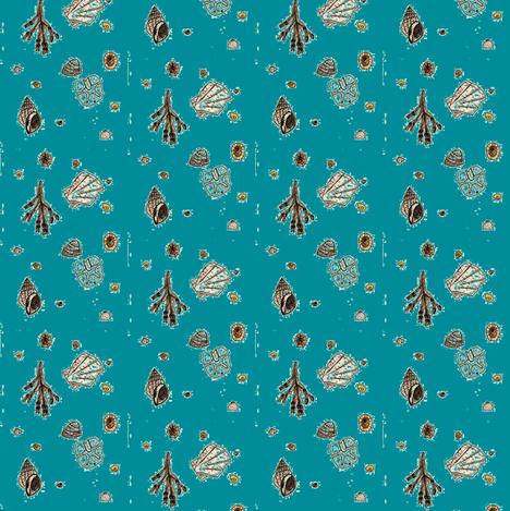 Dornoch beach seashells  - blue fabric by cleverlittlestaffie on Spoonflower - custom fabric