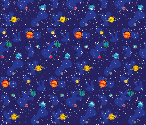 Our solar system small wallpaper robyriker spoonflower for Solar system fabric