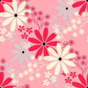 Happy Floral in pink and red