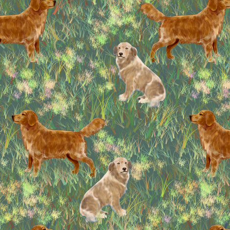 Two Golden Retrievers in a field fabric by eclectic_house on Spoonflower - custom fabric