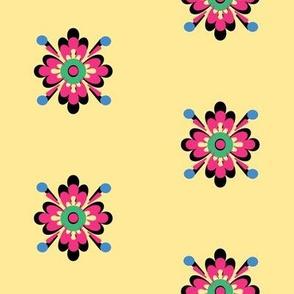 Danita's Pink Flower on Creamy Yellow