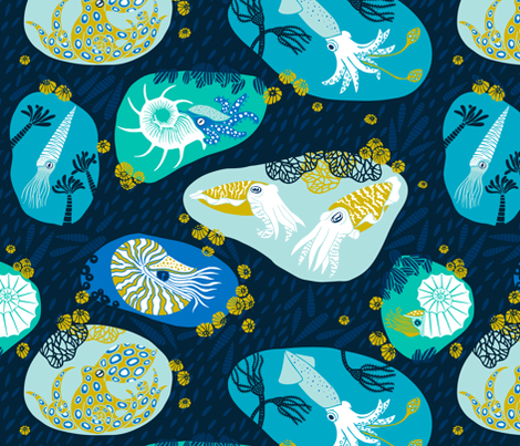 Cephalopods Through Time fabric by pinky_wittingslow on Spoonflower - custom fabric