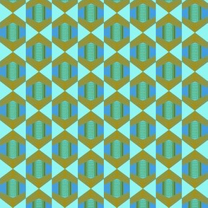 African Hexagon Weave Drop Blues and Greens Small