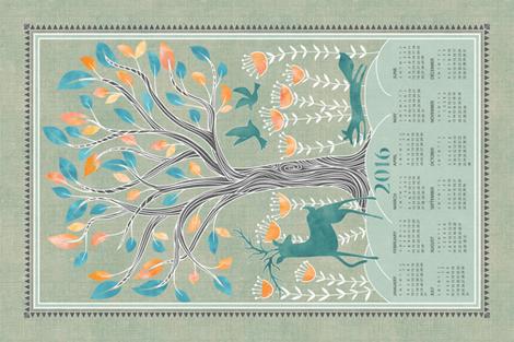 2016 A day in the forest tea towel calendar  fabric by vo_aka_virginiao on Spoonflower - custom fabric
