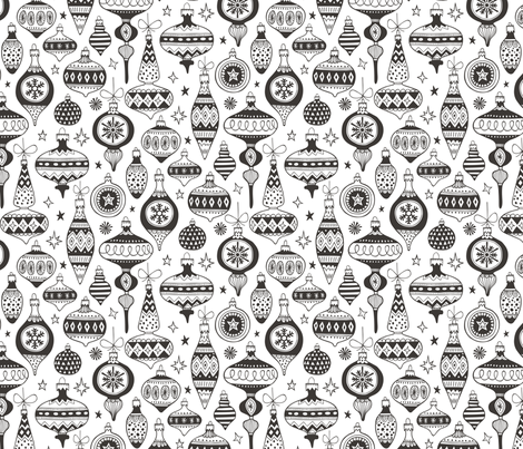 Christmas Ball Ornament Black&White fabric by caja_design on Spoonflower - custom fabric