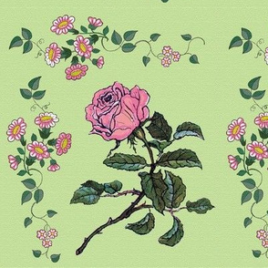 Danita's Vintage Flowers on Green