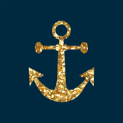 Anchors Aweigh in Gold Glitter on Navy / Mini