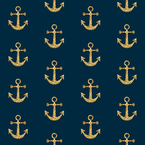 Anchors aweigh in gold glitter on navy mini wallpaper willowlanetextiles spoonflower - Navy gold wallpaper ...