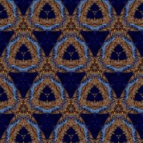 gilded blue velvet shield
