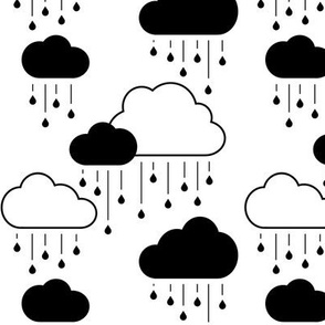 Clouds + Rain - Black on White