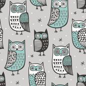 Owls Black&White Green on Grey