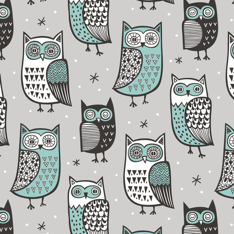 Owls  Owl Woodland Fall Winter Black&White Green on Grey fabric by caja_design on Spoonflower - custom fabric