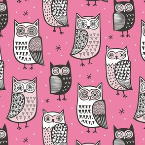 Owls Owl Woodland Fall Winter Black&White on Pink