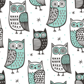 Owls Black&White with Mint