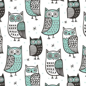 Owls Owl Woodland Fall Winter Black&White with Mint