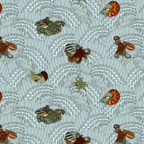 Cephalopods at the Fan Club. fabric by house_of_heasman on Spoonflower - custom fabric