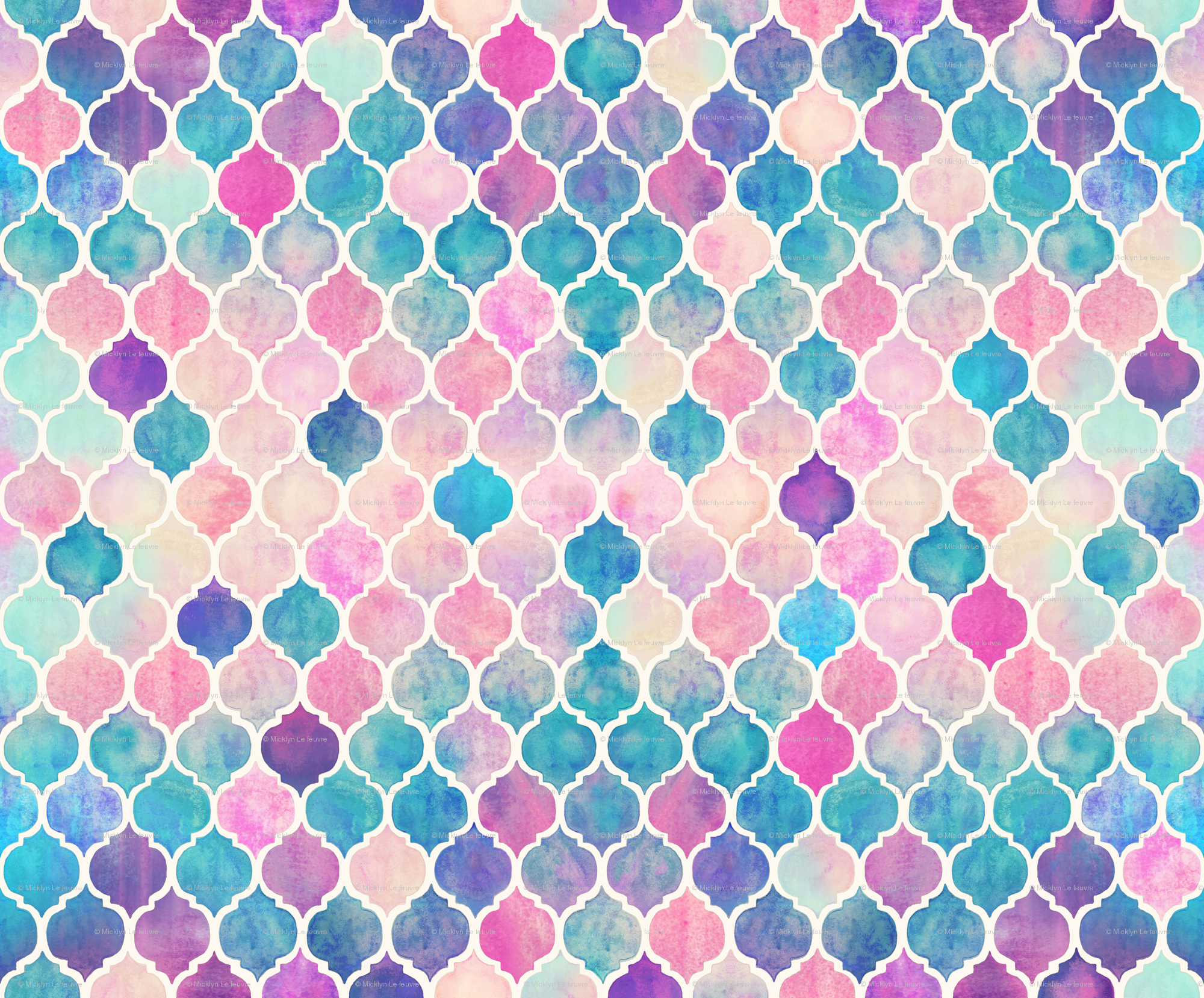 Rainbow Pastel Watercolor Moroccan Pattern Wallpaper