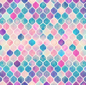 Rainbow Pastel Watercolor Moroccan Pattern