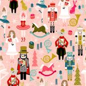 nutcracker ballet // nutcracker christmas fabric xmas holiday christmas ballet pink xmas holiday fabric