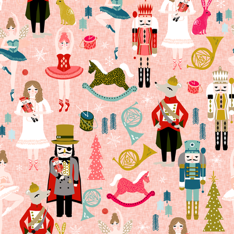 nutcracker ballet // nutcracker christmas fabric xmas holiday christmas ballet pink xmas holiday fabric fabric by andrea_lauren on Spoonflower - custom fabric