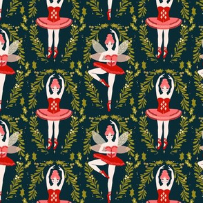 nutcracker ballet // ballerinas nutcracker christmas xmas holiday fabric by andrea lauren