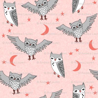 owl // pink rose pink owls grey girls sweet little girls room illustration