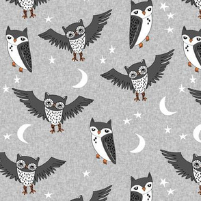 owl // stars moon kids charcoal grey