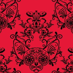 Sugar Skull Sphynx Cat Damask Red