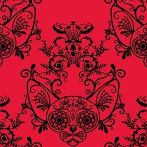 Sugar Skull Sphynx Cat Damask Red