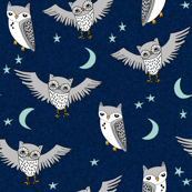 owl // moon stars sky night navy mint grey nursery cute