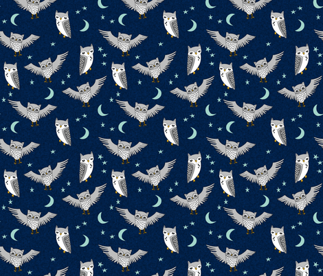 owl // moon stars sky night navy mint grey nursery cute  fabric by andrea_lauren on Spoonflower - custom fabric