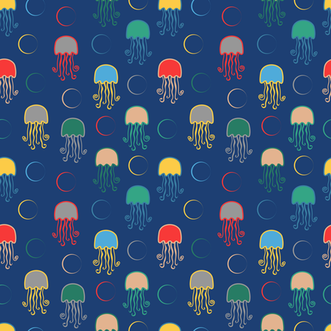 Pop Sea World Coordinate (JellyFish) fabric by vannina on Spoonflower - custom fabric