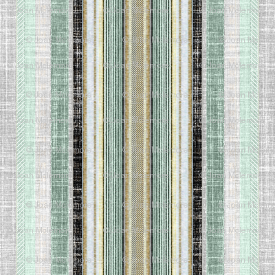 Celadon and gray faux linen ticking stripe