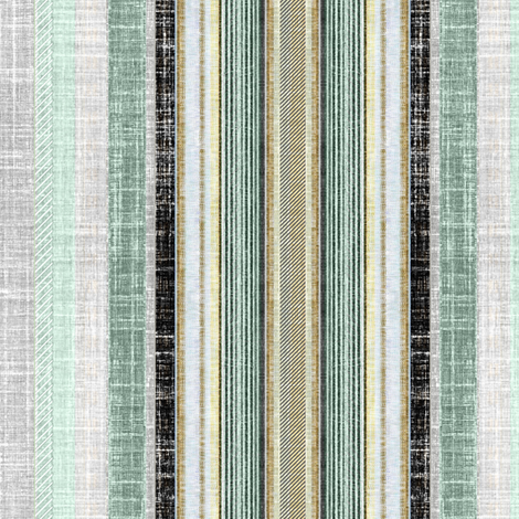 Celadon and gray faux linen ticking stripe fabric by joanmclemore on Spoonflower - custom fabric