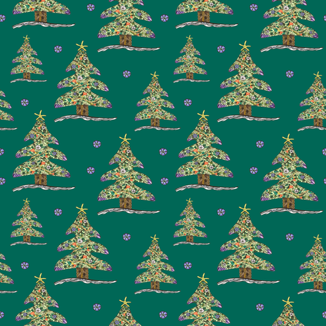 Seaside Christmas Tree (Green) fabric by christinemay on Spoonflower - custom fabric