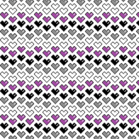 Pixel Heart (Purple, Black, Grey, White) Chevron fabric by abandonedwarehouse on Spoonflower - custom fabric