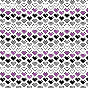 Pixel Heart (Purple, Black, Grey, White) Chevron